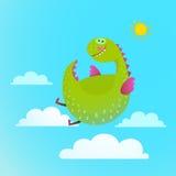 在天空五颜六色的动画片的龙飞行孩子的 向量例证
