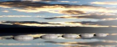 在天空和海背景的禅宗石头 3d例证 免版税库存图片