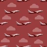 在天空无缝的样式的飞机 向量例证