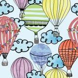 在天空无缝的重复的样式的五颜六色的气球 向量例证