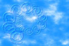 在天空漩涡的蓝色电子邮件 免版税库存照片