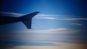 在天空的一个翼 免版税库存照片