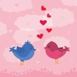在天空的两只逗人喜爱的鸟 看板卡为情人节 库存照片