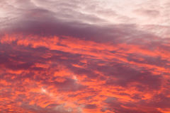 在天空的五颜六色的温暖的云彩在日落 免版税库存图片
