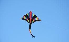在天空的五颜六色的风筝 免版税库存照片