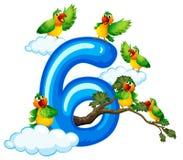 在天空的六只鸟 向量例证