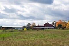 在天空的农场 免版税库存图片