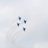 在天空的四架战争喷气机 免版税库存图片