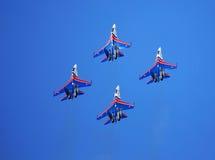 在天空的四架战斗机 免版税库存图片
