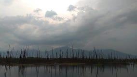 在天空的太阳光在湖 股票录像