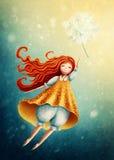 在天空的女孩飞行用蒲公英 免版税库存图片