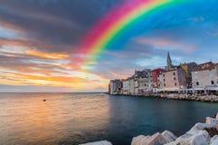 在天空的彩虹 免版税库存图片