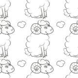 在天空的愉快的绵羊飞行 皇族释放例证