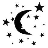 在天空的新月与星 免版税库存图片