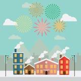 在天空的新年快乐烟花在城市 免版税库存图片