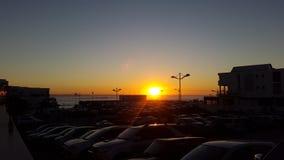 在天空的日落,黄色太阳 图库摄影