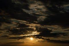 在天空的日落 免版税库存图片