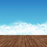 在天空的木路 库存图片