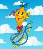 在天空的橙色风筝 图库摄影