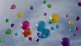 在天空的气球 股票视频