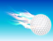 在天空的火焰状高尔夫球 库存图片