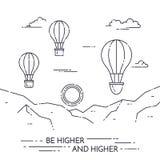 在天空的热空气气球在白色背景的山下 库存图片