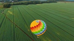 在天空的热空气气球在领域 股票视频