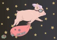 在天空的猪飞行和充分拿着一个漏的红色袋子礼物 向量例证