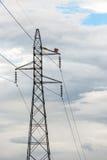 在天空的电力在泰国 免版税库存照片
