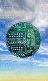 在天空的电路板球 图库摄影