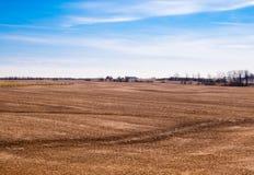 在天空的空的棕色农田 免版税库存照片