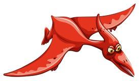 在天空的红色恐龙飞行 图库摄影
