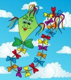 在天空的绿色风筝 库存照片