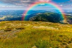 在天空的美丽的彩虹 免版税库存图片