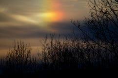 在天空的美好的sundog日落在NH 图库摄影
