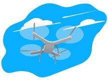 在天空的背景的寄生虫quadrocopter与云彩的 也corel凹道例证向量 库存照片
