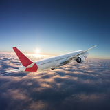 在天空的航空器 免版税库存图片