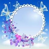 在天空的花、蝴蝶和照片框架 图库摄影