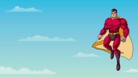 在天空的超级英雄飞行 库存例证