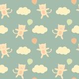 在天空的逗人喜爱的动画片猫飞行与气球无缝的样式背景例证 免版税库存图片