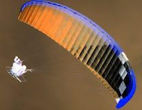 在天空的降伞在反向 免版税库存图片