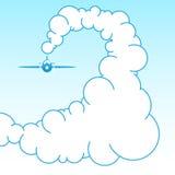 在天空的飞机在云彩 向量 库存图片