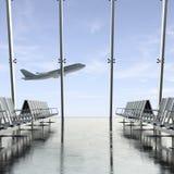 在天空的飞机通过机场玻璃 图库摄影