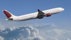在天空的飞机-乘客班机 库存照片