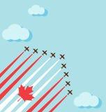 在天空的飞行表演为加拿大的国庆节 库存照片