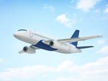 在天空的飞行飞机 免版税图库摄影