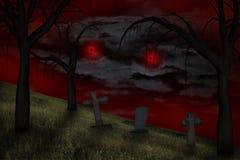 在天空的鬼的红色眼睛 免版税库存图片