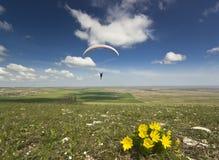 在天空的滑翔伞与云彩和花在地面 免版税库存照片