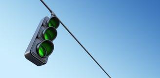 在天空的绿色街道红绿灯 3d例证 库存图片
