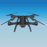 在天空的Quadcopter 免版税库存照片